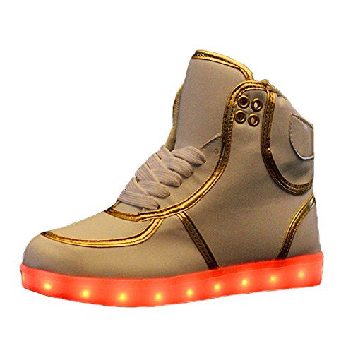 O & N Dames Heren Hoge Top Usb Opladen Led-verlichting Trainers Knipperen Sneakers Lace Up Koppels Schoenen Wit