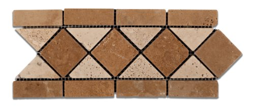 Noce & Ivory Travertine Trojan Tumbled Border / Listello - 6