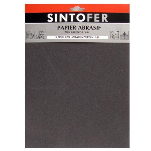 Schleifpapier 3 Blatt für Schleifbürste zu Wasser mittlere Körnung N ° 240: SINTOFER