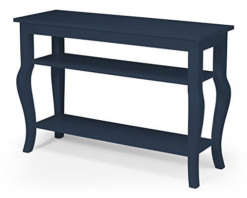 Kate and Laurel Lillian Wood Console Table with Curved Legs and Two Shelves, Navy Blue