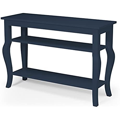 Kate And Laurel Lillian Wood Console Table With Curved Legs And Two Shelves Navy Blue