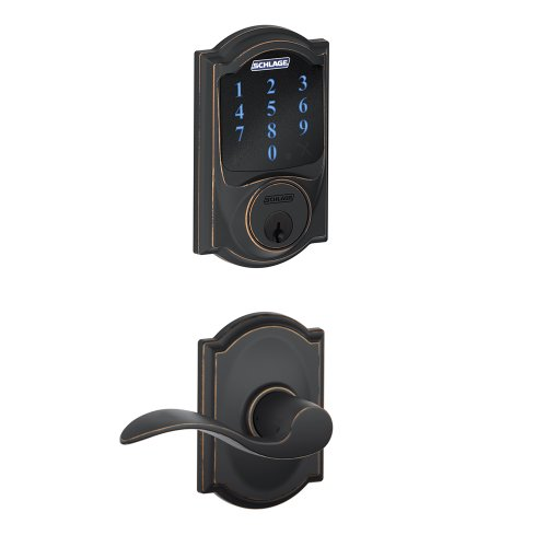 Schlage Connect FBE469NX ACC 716 CAM Touchscreen Deadbolt with Built-In Alarm with Camelot trim paired with Accent Passage Lever Camelot trim, Aged Bronze