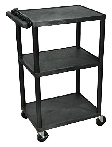 Luxor LP42E-B - 42''H A/V Multipurpose Presentation Cart with Three Shelves, Electric by Luxor