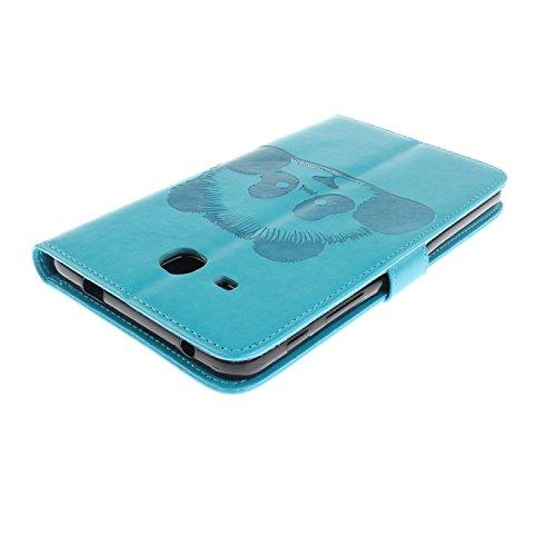 JIALUN-Personality teléfono shell Para Samsung Galaxy Tab 4 7.0 pulgadas T280 T285C Funda de la caja, Horizontal Flip Folio Funda de la cartera Funda de cuero premium de la PU con relieve Textura y 4  Blue