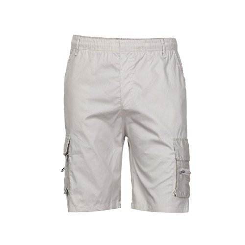 Willsa Men Cargo Shorts, Men's Shorts Sports Casual Beach Work Cargo Shorts Pants (2XL, Beige) by Willsa