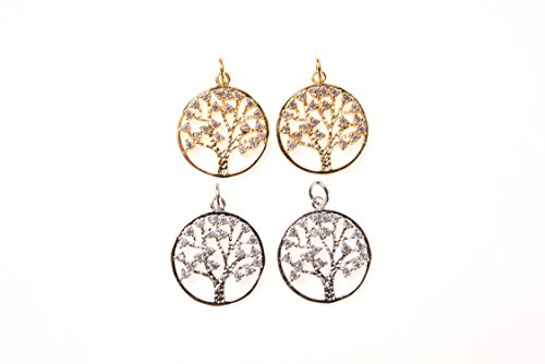 Goodbead Clear White Cubic Zirconia CZ Minimal Tree of Life Round Charm with Jump Ring| DIY Necklace, Choker, Bracelet, Anklet | 23x17mm - Cluster Anklet