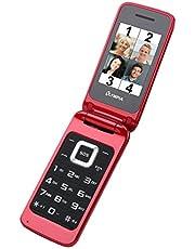 OLYMPIA Luna röd mobiltelefon för seniorer, åldersanpassad vikbar mobiltelefon med knappar