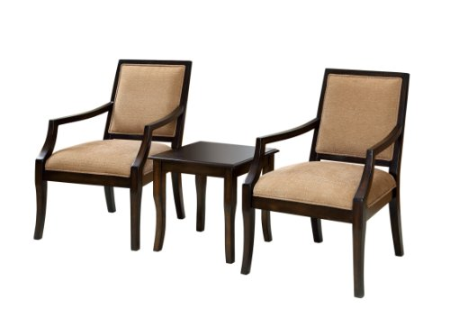 Furniture of America Villa 3-Piece Chair and Table Set, Espresso
