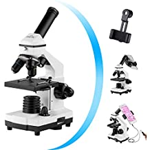 Monocular Microscope for Students,200x-2000x Magnification Powerful Biological Educational Microscope with Operating Accessories,Slides Set,Phone Adapter,Wire Shutter, Carrying Bag