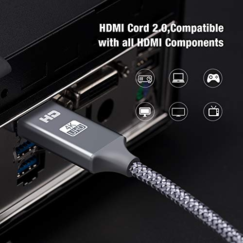 4K HDMI Cable,Capshi [6.6Ft,2Pack] High Speed 18Gbps HDMI 2.0 Cable, 4K@60Hz 30AWG Braided HDMI Cord, Gold Plated Connectors, Ethernet/Audio Return, 4K UHD 2160p, HD 1080p, 3D, Compatible TV PS3/4 2 by Capshi (Image #2)