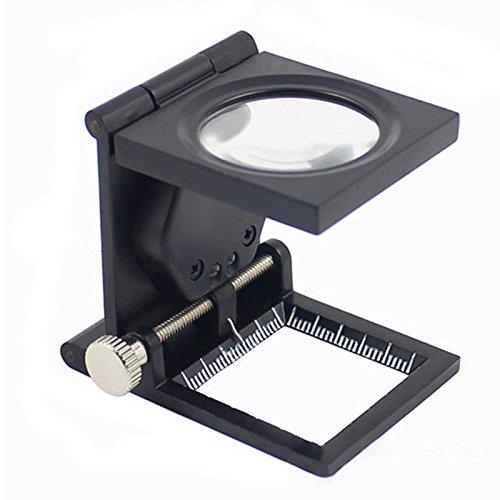 JXJJD Falten Inspektionstuch Lupe Metall mit LED-Licht Beleuchtung 10-mal Zink-Legierung Foto Tuch mit L-Licht ED Metall mit Skala