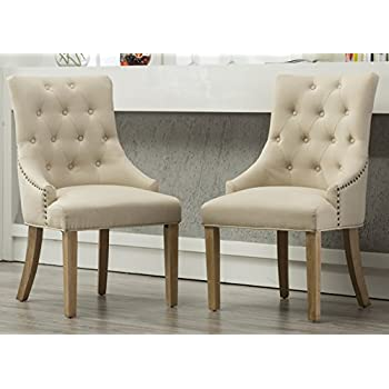 Roundhill Furniture C169TA Button Tufted Solid Wood Wingback Hostess Chairs  With Nail Heads, Set Of