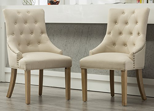 Roundhill Furniture Button Tufted Solid Wood Wingback Hostess Chairs with Nail Heads, Set of 2, Tan
