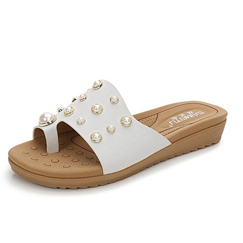 Aqua Summer Sandals Women Casual Joker Pearl Button Women Sandals Solid Color Half Slippers White cGirp7