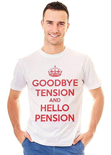 Retreez Funny Goodbye Tension and Hello Pension Graphic Printed Unisex Men/Boys/Women T-Shirt Tee - White - X-Small