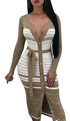 Jaycargogo Femmes Sexy Manches Longues Bouton V-cou Avant Khaki Robe Midi