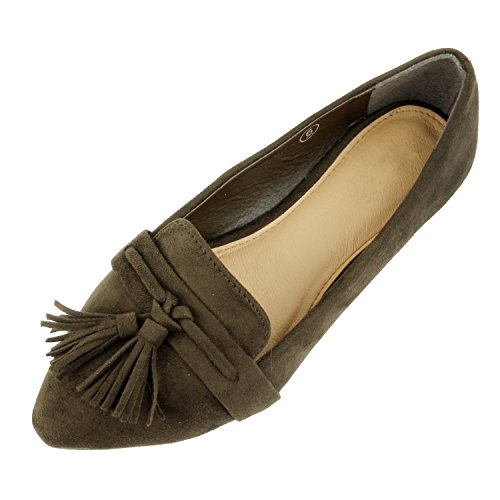 Guilty Heart Womens Tassel Slip On Suede Comfort Pointy Toe Loafer Oxford Espadrille Casual Flats