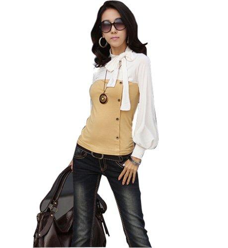 Zehui Girl Bow Tie Polo Neck Shrug Puff Long Sleeve Cotton Tops Blouses T-Shirt