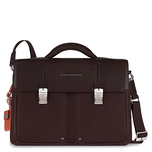 Piquadro Organized Computer Briefcase with Two Compartments, Dark Brown, One Size by Piquadro