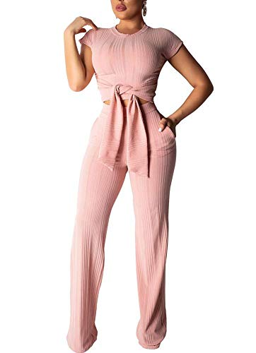 Women Casual Ribbed Knit 2 Piece Outfits Jumpsuits Short Sleeve Tie Front Crop Top and Pockets Wide Leg Long Pants Set Pink - Tie Crop Pants