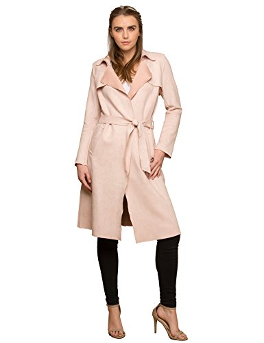 Lock and Love WJC1613 Womens Suede Coats Long Duster Jacket Trench Coat with Belt L (Design Ladies Leather Trench Coat)