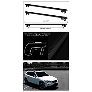 "Topline Autopart 50"" Black Oval Adjustable Roof Rail Rack Cross Bars Cargo Luggage Carrier Kit T1"