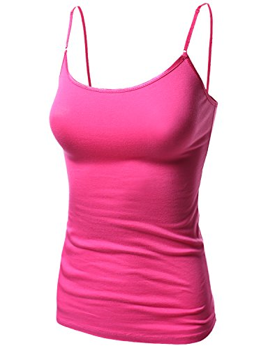 Basic Solid Camisole Tank Tops with Adjustable Straps Fuchsia Size (Fuchsia Crochet)