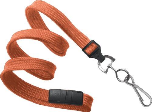 "Orange 3/8"" Wide 36"" Flat Braid Breakaway Lanyard, Swivel Hook (100/bag)"