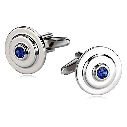Mens Stainless Steel Cufflinks Spiral Circle Round CZ Silver Blue 1.7X1.7CM Box Dad Unique Jewelry Box Fancy Elegant Aooaz (Circle Pearl Cufflinks Design)