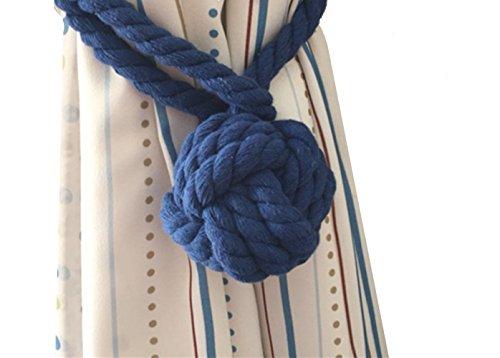 2 Pieces Fine Hand Tied Curtain Clip, Buckle Holdback Fabric Drapery Tassels Curtain Tiebacks / Tassel Window Cotton Rope Tie Ball Back Accessories (Dark - Rope Curtain Back Tie