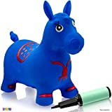 Toys : Horse Hopper Blue - Inflatable Horse Bouncer Free Pump Included - Bouncy Horse Toys for Kids & Toddler Riding Horse Toy Great for Indoor and Outdoor Toys Play - Best Gift for Boys and Girls (Blue)