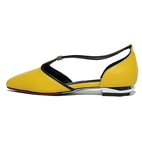 Nine Seven Cuero Moda Puntiagudos Bailarinas Planos Cómodos para Mujer amarrillo