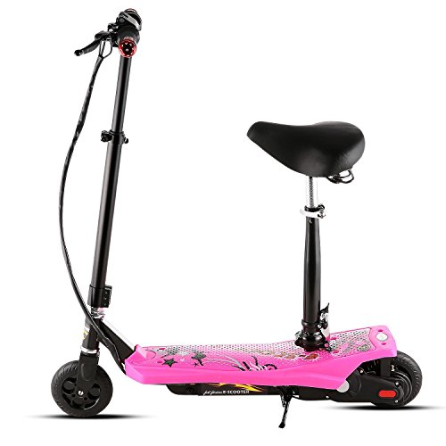 Keland Electric Scooter with Seat for kids Teenager & Adult, Height Adjustable Foldable Seated E-Scooter for Age 12 and Up (Pink)