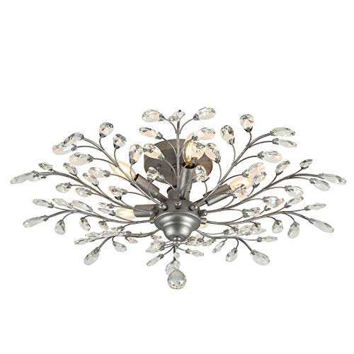 SEOL-LIGHT Vintage Large Crystal Branches Chandeliers Black Ceiling Light Flush Mounted Fixture with 5 Light 200W Sliver Grey for Bedroom,Entryway,Living Room