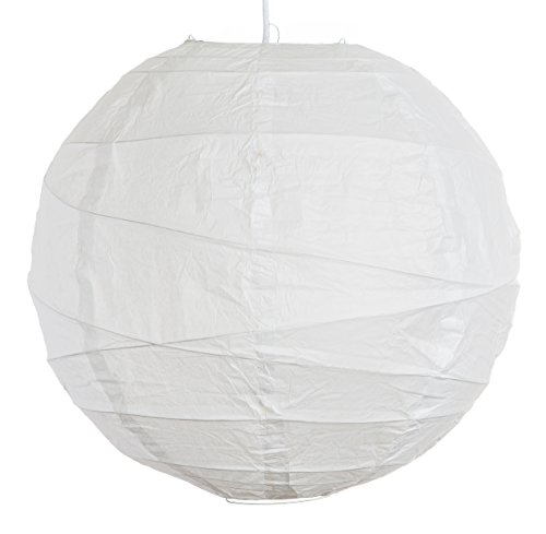 ((Set of 3) Round Party Wedding Lanterns (20 Inch, White Irregular Ribbed Paper Lanterns))