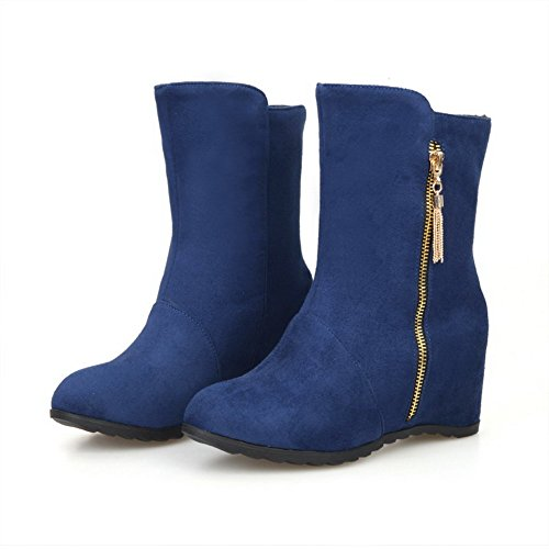 AgooLar Women's Low-top Zipper Frosted Kitten-Heels Round Closed Toe Boots Blue u9EkJL