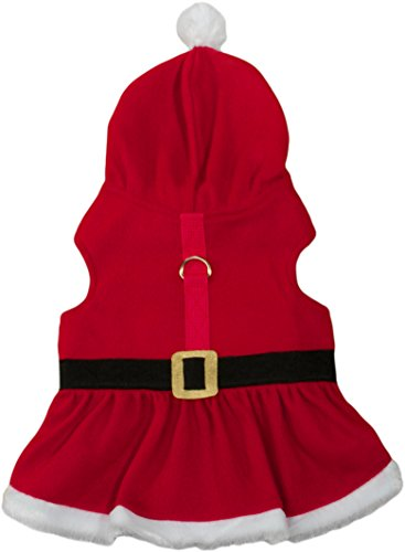 Friends Forever Santa Hoodie Cozy Winter Vest Jacket Coat Sweater Furry Collar Red Harness Pet Puppy Dog Christmas Clothes Costume Outwear Apparel Cat (Extra Small) ()
