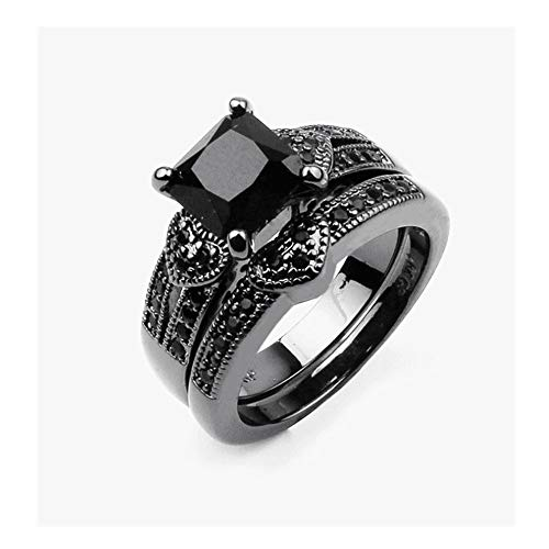 Luxury Creative Black Diamond Love Hollow Ring Ladies Jewelry, Personal Couple Business Casual Ring Women men (8)
