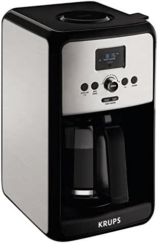 KRUPS EC3140 Savoy Programmable Digital Coffee Maker Machine with Stainless Steel Body and LED Control Panel,12-Cups, Silver