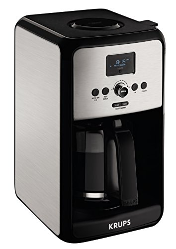 KRUPS EC3140 Programmable Digital Coffee Maker Machine with Stainless Steel Body and LED Control Panel,12-Cups, Silver