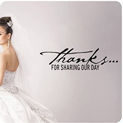 Thanks for Sharing Our Day Wall Decal Wedding Anniversary Celebration Party Gift Dance Floor Quote Large Sticker ART Mural Large Nice Bride Groom Love Decoration Decor