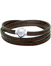 LORD'S PRAYER ENGRAVED LEATHER WRAP BRACELET - BROWN