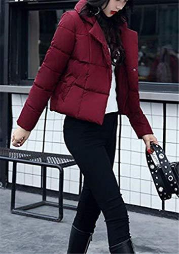 Down Warm Girl Elegante Solidi Fashion Outdoor Clothes Saoye Ladies Winter Burgund Transition Comodo Short Lunga Manica Colori Coat Bw8pa6Rp7q