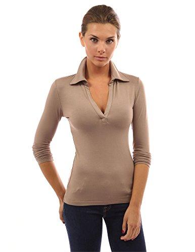 PattyBoutik Women V Neck Long Sleeve Polo Shirt (Tan Medium)