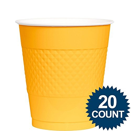 Amscan BB100317 Bright Yellow Plastic Cups, 12 Oz.