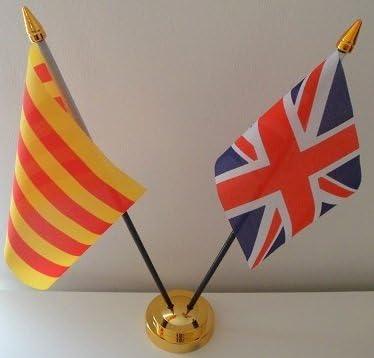 Cataluña España bandera de Reino Unido 2 exhibición de la tabla de la amistad con Base de oro: Amazon.es: Hogar