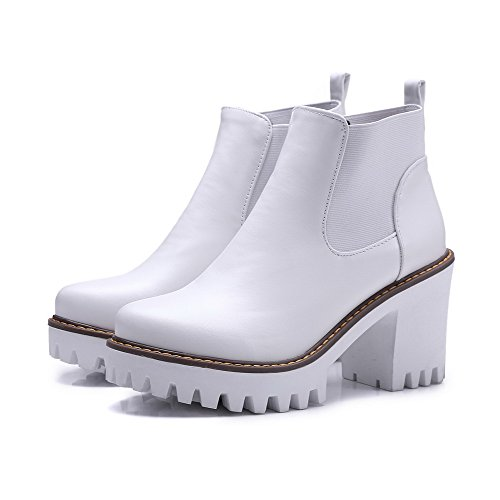 Boots High Toe Women's Pu Pull Round Heels On White Closed Solid AmoonyFashion qvwBp1xp