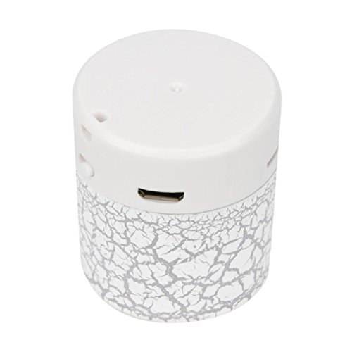 LED Mini Bluetooth Speakers,Tuscom Portable Wireless HandfreeMusic Player with TF Card (White) by Tuscom (Image #1)