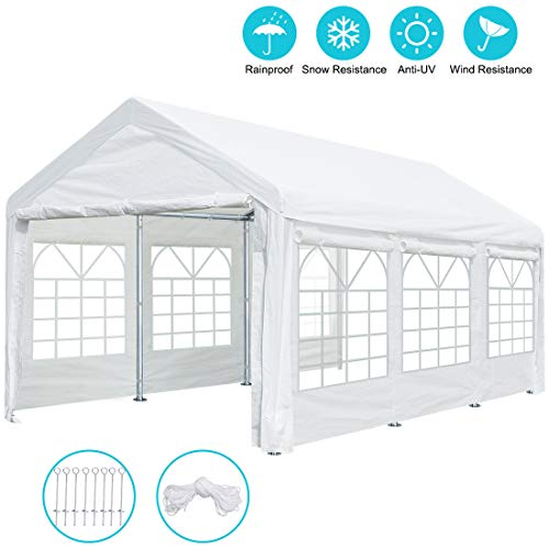 10 x 20 ft Heavy Duty Carport Canopy Car Garage Shelter Party Wedding Tent with Removable Window Sidewalls and Doors, 9.5 ft Peak Height and 6.5 ft Side height (2 Carport Canopy)