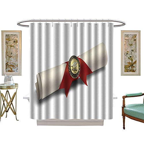 - luvoluxhome Shower Curtains Digital Printing Degree Scroll with red Ribbon and Diploma Medal Isolated on White Background Satin Fabric Sets Bathroom W48 x L72
